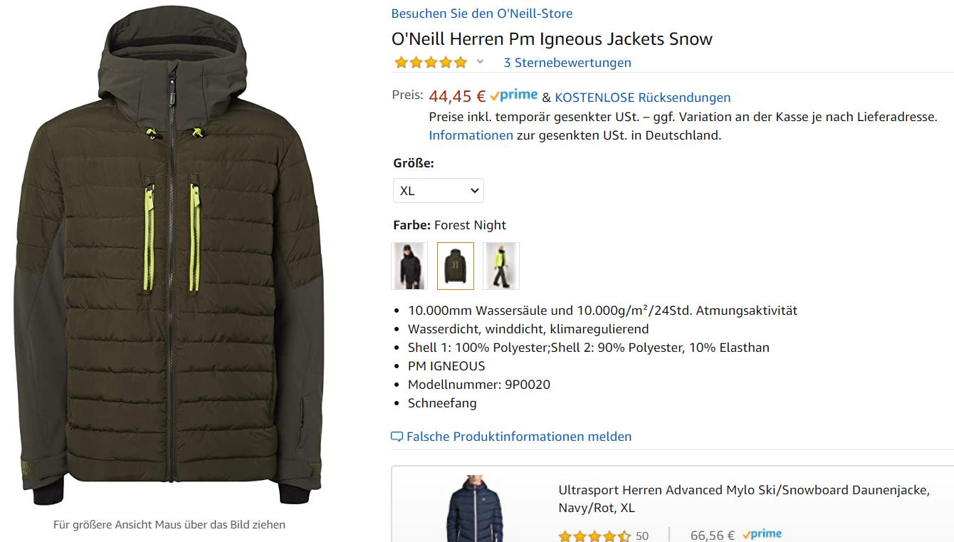 O'NEILL Igneous Skijacke Herren in forest night, Größe XL