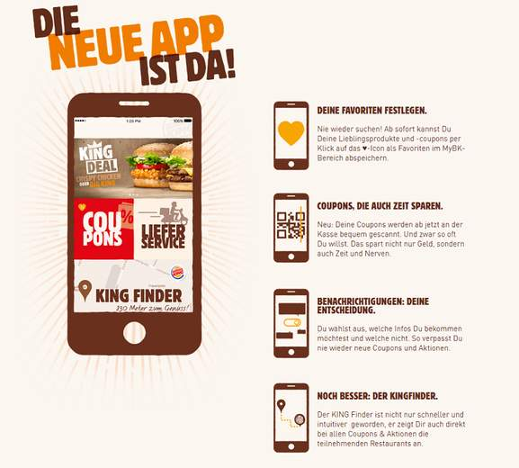 Burger King App fuer Rabatt Coupons