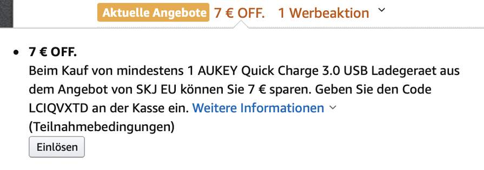 AUKEY Quick Charge 3.0 USB Ladegeraet 3 Ports USB Netzteil