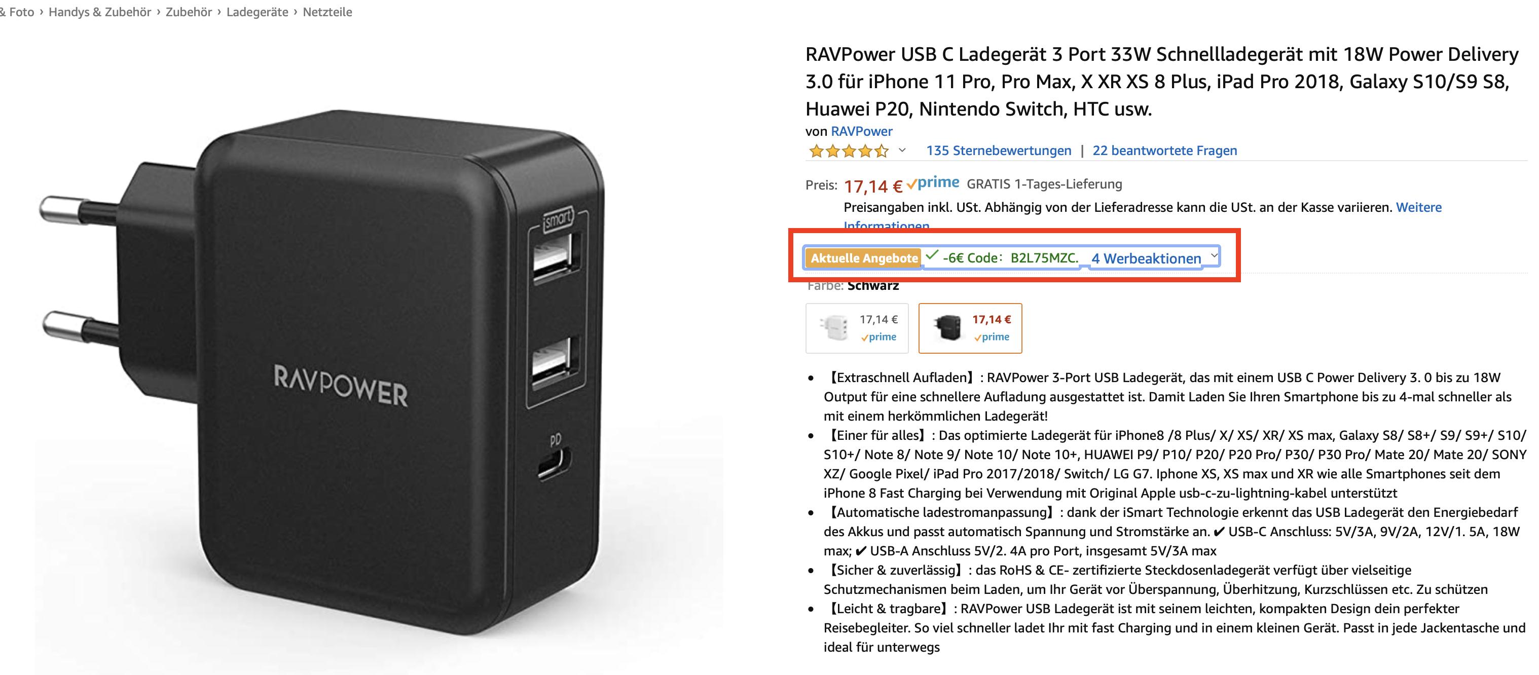 RAVPower USB C Ladegerät 3 Port 33W mit 18W Power Delivery