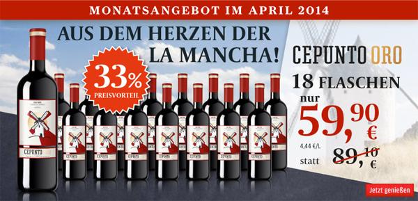 Top! 25 € Rabatt auf alle Weine bei Vinos mit 50 € MBW - z.B. 18 Flaschen Cepunto Oro für 33,10 € statt 59,90 €