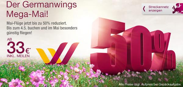 Germanwings Mega-Mai - One-Way-Flugtickets bis 04. Mai ab nur 33 € buchen