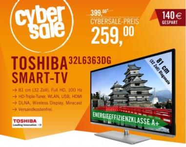 """Toshiba 32L6363DG (32"""", Full HD, 100 Hz, WLAN, HD-Triple-Tuner) für 259 € - 13% sparen"""