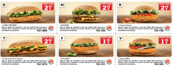 Gutscheinheft für Burger King Österreich – bis 13. Juli 2014 gültig