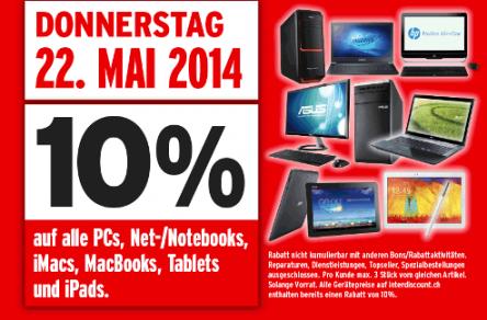 Für Grenzgänger: 10% Rabatt auf Notebooks, Tablets und PCs bei Interdiscount – z.B. Nexus 10 für 169 €