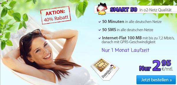 DeutschlandSIM Smart 50 (50 Min, 50 SMS, 100 MB) für 2,95 €/Monat