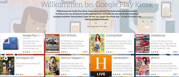 Google Play Kiosk startet in Deutschland - ausgewählte Zeitschriften gratis