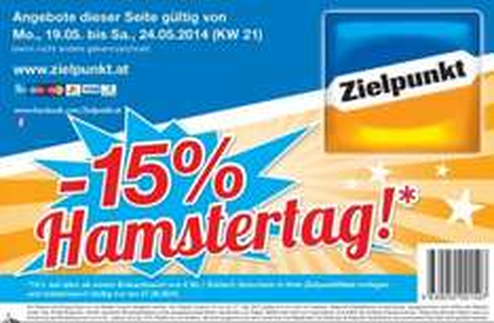 Nur am 27.05.2014 - Zielpunkt Hamstertag: -15% auf alles ab einem Einkaufswert von 50 €