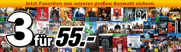 3 für 55 € bei Media Markt - Multibuy-Aktion für Spiele, Filme, Serien und mehr *Update* jetzt auch bei Amazon