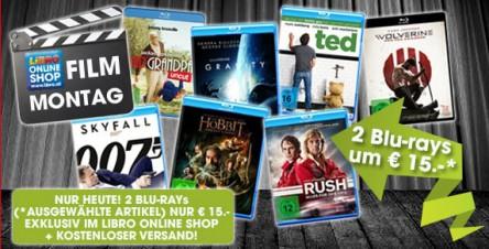LIBRO Film Montag: 2 ausgewählte Blu-rays um 15 € + versandkostenfreie Lieferung