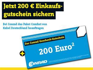 Kabel Deutschland Doppel-Flatrate mit 200€ Conrad Gutschein