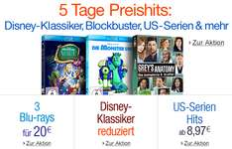 5 Tage Preishits bei Amazon mit Disney-Klassikern, Blockbustern und Serien