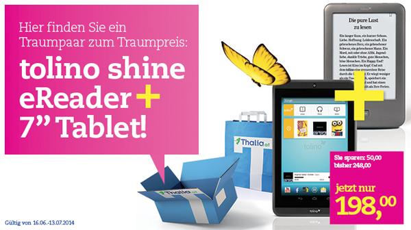 Thalia.at: Tolino Shine eReader + Tolino Tab 7 für zusammen 198 € - 20% sparen