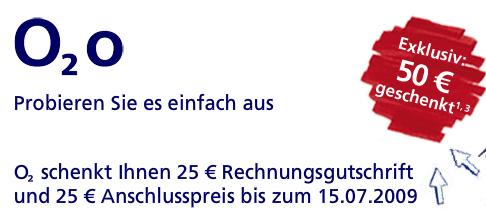 O2 o Vertrag mit 25€ Rechnungsgutschrift für 4€ - 166 Freiminuten/SMS