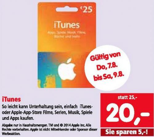 Interspar: 20% Rabatt auf 25 € iTunes-Karten bis 9. August 2014