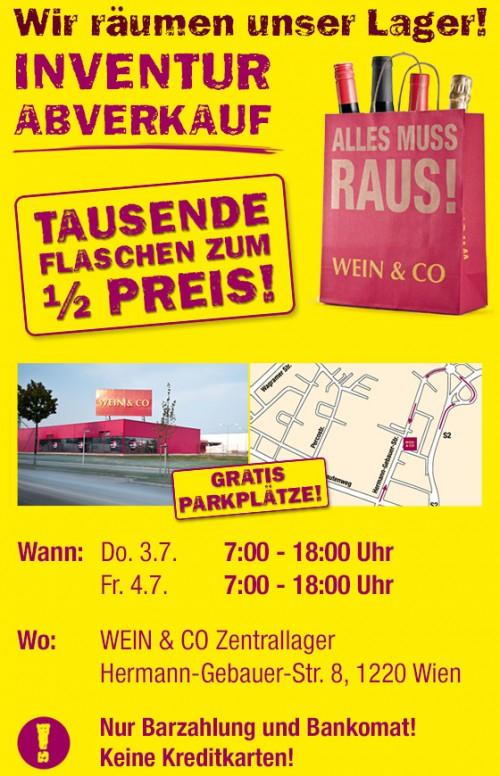 Sommer-Sale bei Wein & Co Online und Inventurabverkauf im Zentrallager in Wien - zwischen 11% bis 42% Rabatt