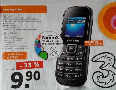 Samsung E1200 inkl. Nimm3 Wertkarte um 9,90 € - 33% sparen