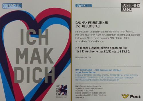 50% (1+1 gratis) auf den Eintritt ins Museum für Angewandte Kunst (MAK) - 7,90 € sparen