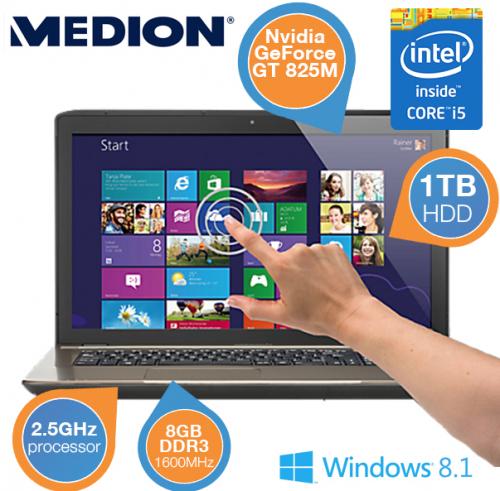 Medion Akoya Touch Notebook (17,3 Zoll, Win 8) um 605,90 € - 14% Ersparnis