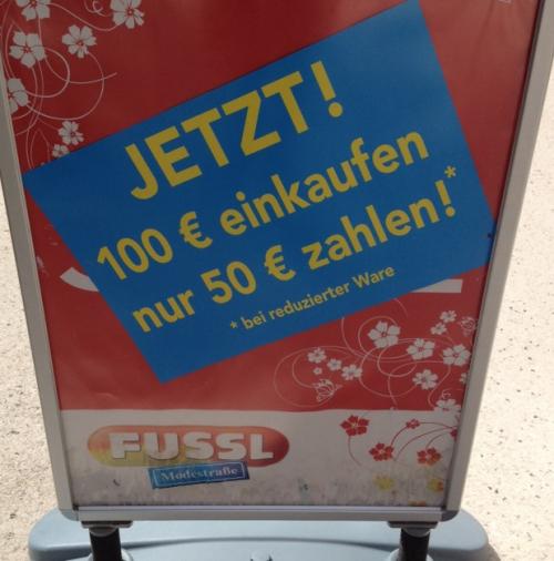 Fussl Modestraße 50 € Gutschein bei einem Einkauf von Sale-Artikeln im Wert von 100 €