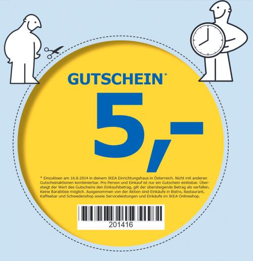 TOP! IKEA - 5 € geschenkt - gültig am 16.08.2014