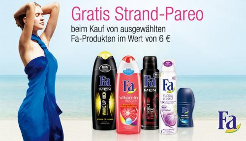 Fa-Produkte im Wert von mind. 6 € kaufen und ein Strand-Pareo gratis sichern