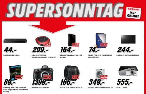 Media Markt Supersonntag - 6 Artikel im Angebot - zwischen 8% - 25% Ersparnis