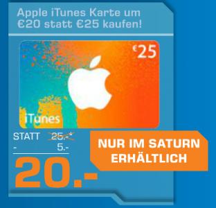 Saturn Filialangebot: 25 € iTunes-Karten um 20 € - 20% sparen