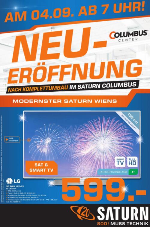 Top! Saturn Columbus Center Wien feiert am 4. September 2014 Neueröffnung mit tollen Angeboten - zwischen 7% und 51% Ersparnisse