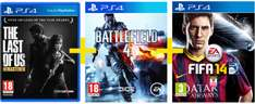 Saturn Tagesdeal: PS4-Spiele The Last of Us: Remastered + Battlefield 4 +  Fifa 14 um 88 € - bis zu 38% sparen