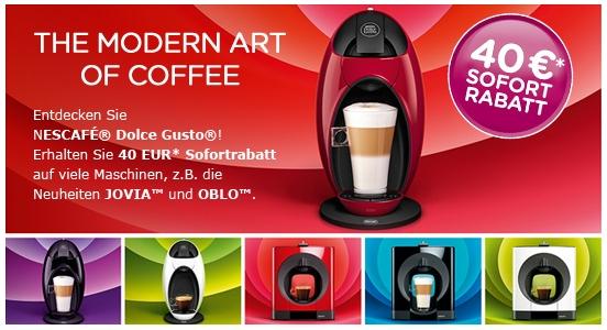 40 € Sofortrabatt auf ausgewählte Nescafé Dolce Gusto Maschinen bei Amazon (17% bis 53% Rabatt)