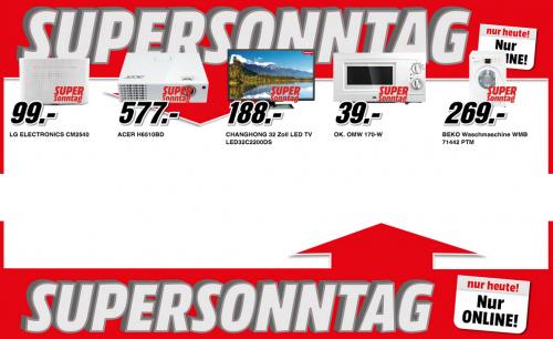 Media Markt Supersonntag – 5 Artikel im Angebot – zwischen 10% und 30% sparen