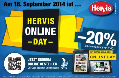 Hervis Sports: 20% Rabatt auf das gesamte Online-Sortiment (ab 100 € MBW) - nur heute - 16.09.2014