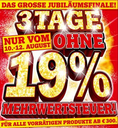 3 Tage ohne 19% Mehrwertssteuer bei Media Markt Deutschland