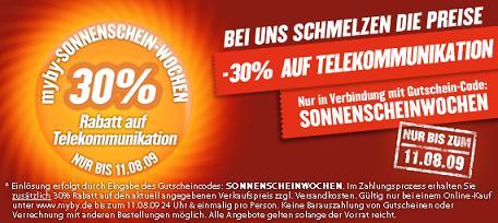 30% Rabatt auf Telekommunikation bei MyBy