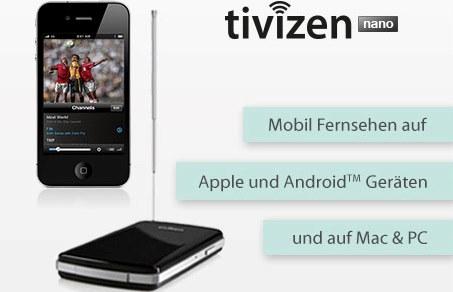 """Tivizen """"iCube Nano"""" DVB-T für Apple, Android und Kindle um 69,60 € - bis zu 25% sparen"""