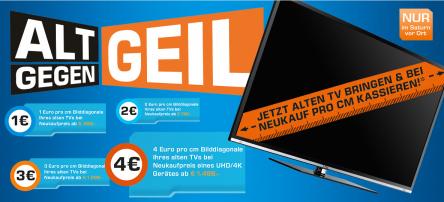 Saturn - Alt gegen Geil! Bis zu 4 € Rabatt pro cm Bildschirmdiagonale eures alten TV-Geräts