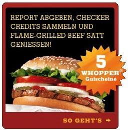 5 gratis Whopper für 3 Burger King Bewertungen