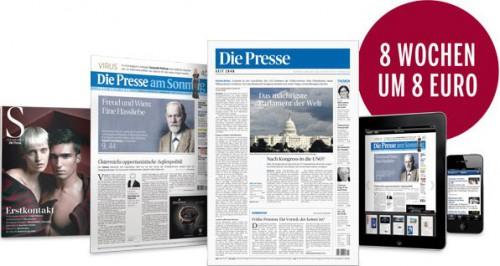 """Tageszeitung """"Die Presse"""": 8 Wochen lang um 8 € (Abo endet automatisch) - bis zu 90% sparen"""