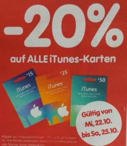 Interspar: 20% Rabatt auf alle iTunes-Karten - 22.10. bis 25.10.2014