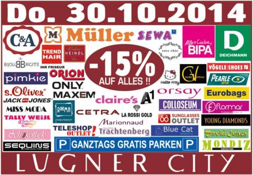 Lugner City - 15% auf Alles und ganztags gratis Parken - nur heute 30.10.2014