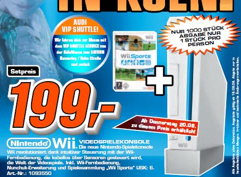 Die GamesCom Angebote von Saturn und Media Markt - Nintendo Wii für 199€