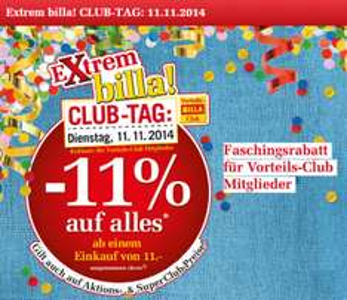 Nur heute, am 11.11.2014 - Faschingsrabatt für Vorteils-Club Mitglieder: -11% auf fast alles