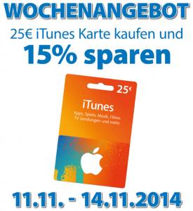 Müller Drogeriemärkte: 25 € iTunes-Karten um 21,25 € - 15% sparen