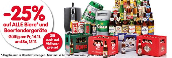 25% Rabatt alle Biere und Beertender-Geräte bei Interspar - am Freitag und Samstag