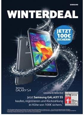 Ab 24. November: 100 € Cashback beim Kauf eines Samsung Galaxy S5 *Update*