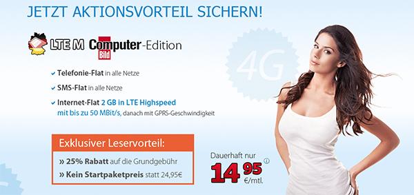 DeutschlandSIM LTE M (Telefon-Flat, SMS-Flat, 2 GB LTE) für 14,95 €/Monat