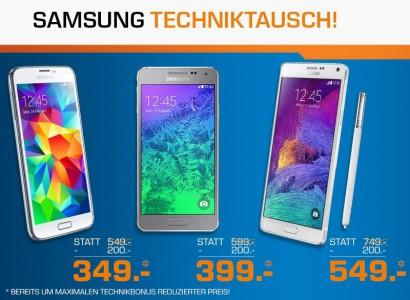 """Saturn: """"Samsung Techniktausch"""" - beim Samsung """"Note 4"""", """"Alpha"""" oder """"S5"""" - bis zu 22% sparen"""