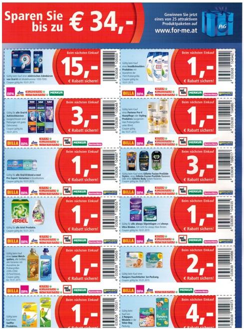 Procter & Gamble - Gutscheine für Haushaltsartikel: bis zu 15 € sparen