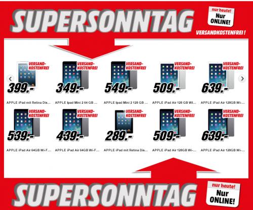 Media Markt Supersonntag: 11 Apple iPad-Modelle im Angebot - bis zu 13% sparen